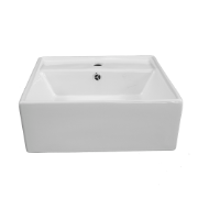 Avalon Square Semi Rec Basin 1TH - O/Flow 460x460x170mm