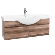 Orchid 1200 Wall Hung Vanity Unit Timbergrain 1TH O/Flow