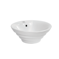 Opal Round Stepped Vessel 1TH Basin O/Flow - 480x480x195mm