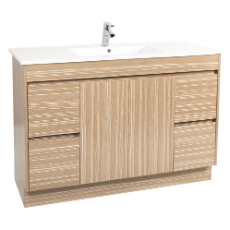 Lima 1200 Vanity Unit Light Timbergrain 1TH O/Flow